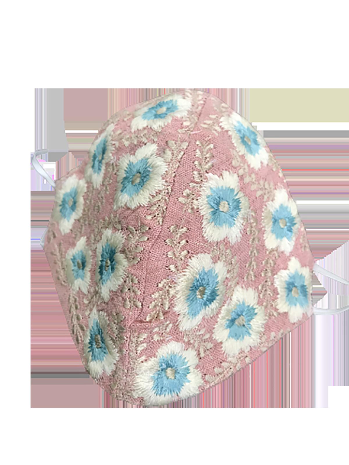 Cubrebocas rosa con azul